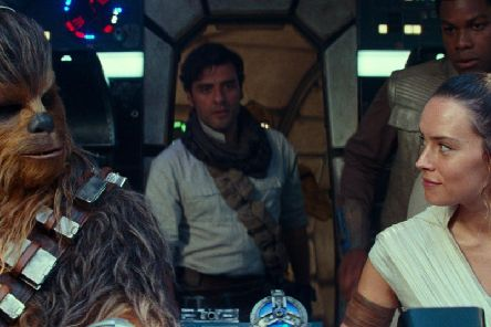 Joonas Suotamo as Chewbacca, Oscar Isaac as Poe Dameron, Daisy Ridley as Rey and John Boyega as Finn