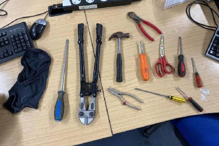 Police found tools, balaclavas, gloves and torches.Photo from Dacorum Police Facebook page