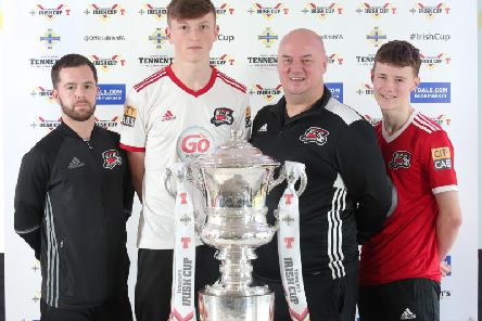 Maiden City representatives and players who attended the Tennents Irish Cup fifth round draw. From left, Chris Mansfield, Jamie Robinson, Paul Kee and Josh Kee. Maiden City lost out to Championship side Dergview
