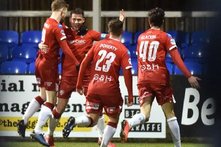 Celebration time for Coleraine in the 2-0 win over Dungannon Swifts. Pic by INPHO.