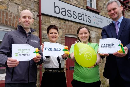 Pictured are Gareth Archer, Branch Manager, Bassetts Dungannon, Brenda Hall, Bassetts Charity Co-ordinator;  Aoibheann Doherty, Fundraising Manager, Barnardo's and Alan Wright, Managing Director