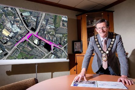 Cllr Martin Kearney, Chair Mid Ulster District Council, views the plans at Launch of EI Scheme''''Mid Ulster Council Cookstown, Co.Tyrone. 13 June, 2019.'Credit: Liam McArdle