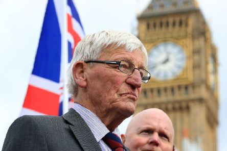 Former British soldier Dennis Hutchings (left), who has been charged over the fatal 1974 shooting of a man in Northern Ireland, takes part in a protest to call for an end to prosecutions of veterans who served during the Troubles, on Horse Guards Parade, London. PRESS ASSOCIATION Photo. Picture date: Saturday September 16, 2017. See PA story PROTEST Soldier. Photo credit should read: Gareth Fuller/PA Wire