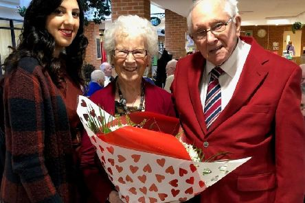 Newsline PRs Huma Whitehouse with Albert, 95, and Mary Mack, 92, at Lark Hill
