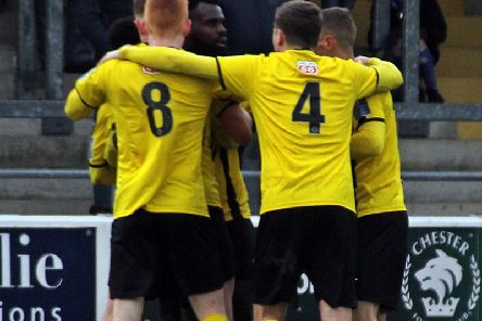 Ahmed Obeng celebrates his equaliser for Brakes against Chester