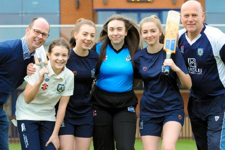 Leamington CC chairman Kevin Mitchell with chairman of cricket Neil Smith and Sabrina Burrows, Abi Mitchell, Laura Bawden and Imogen Lomas.