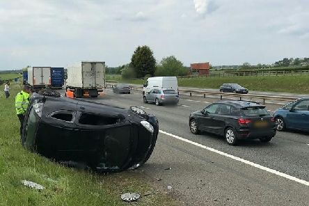 The incident on the M40. Photo by OPU Warwickshire.