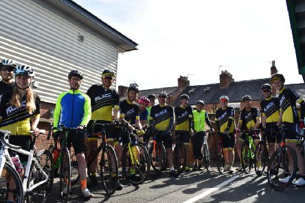 Royal Leamington Spa Cycling Club members followed the Warwickshire Stage of the OVO Energy Tour of Britain. They are pictured at Warwick Racecourse having watched the professional cyclists set off from the start line.