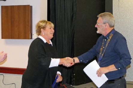 Pat Cain being welcomed into the Club by President Graham Pemberton