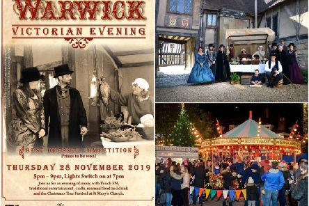 The festive season will be kicking off in Warwick tonight! 'Poster by Warwick District Council, top right photo by Gill Fletcher and bottom right photo by the Warwick Courier.