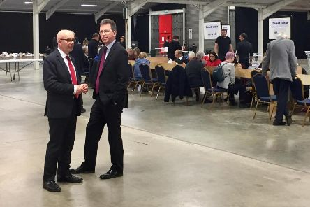 Matt Western the Labour candidate for Warwick and Leamington and Jeremy Wright, the Conservative candidate for Kenilworth and Southam have during the election counts at Stoneleigh Park.