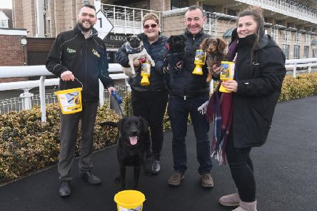 From left to right - Lee Bunting (Air Ambulance) with Ned, Donna Evans (LPS)'with Gracie, Richard Evans (LPS) with Bear and Lily Witherford (Warwick Racecourse) with Kai.  Photo supplied