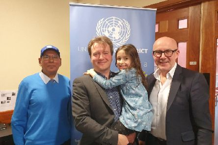 Gian Clare (chairman of local UN Association), Richard Ratcliffe with his daughter Gabriella and Matt Western he Leamington and Warwick MP.