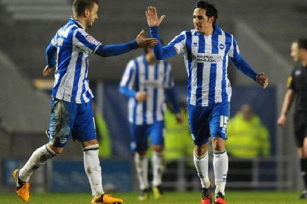 Spanish star Vicente celebrates scoring for Brighton at the Amex. Picture by Getty Images