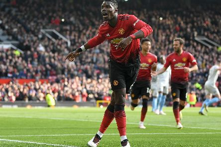 Paul Pogba celebrates scoring against West Ham. Picture by Getty Images