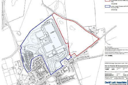 Blue: the existing Rolls-Royce Motor Cars site at Goodwood. Expansion suggested is outlined in red, for the purposes of the Local Plan.