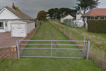 Access road off Park Lane, Selsey before the resurfacing was carried out (photo from Google Maps Street View)