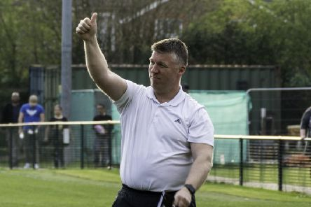 Boss Simon Wormull salutes the Burgess Hill Town faithful. Picture by Chris Neal.