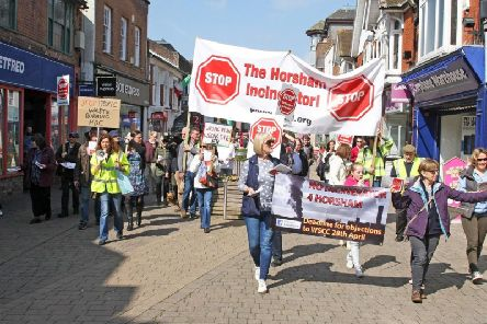 An earlier protest against plans  to build an incinerator in Horsham. Photo by Derek Martin Photography. SUS-180414-201642008