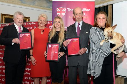 Maggie and owner Kasey Carlin, far right, along with, from the left, Simon Weston, Paula Cave, CEO of Amplifon UK and Ireland, finalist owner Laurie McIntyre, and the Duke of Kent SUS-191023-111921001