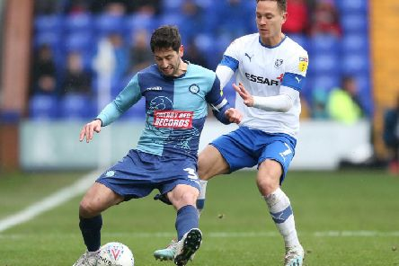 Wycombe, all blue, and Tranmere do battle in the league at Prenton Park last Sunday / Picture: Getty Images