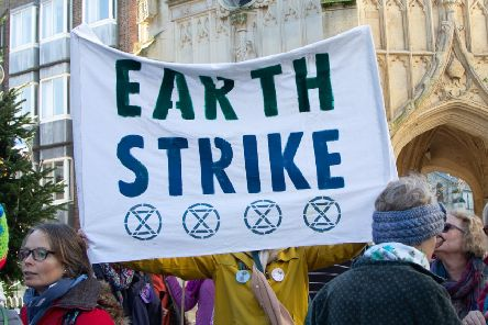Chichester climate youth strike supported by the city's branch of Extinction Rebellion (photo by Hilary Featherstone)
