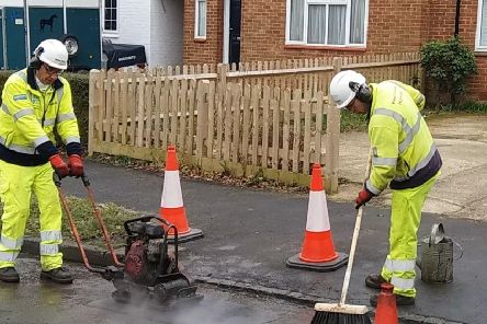 A pothole repair team in action. Picture: West Sussex County Council