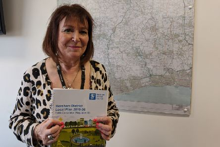 Cabinet member Claire Vickers with a copy of the local plan