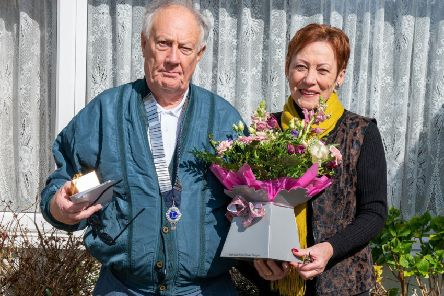 Worthing Lions president Tony Carter with Mother's Day competition winner Carol Durrant. Picture: Lee Milner