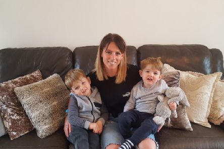 Frances Hearn with her sons Mayson (left) and Vincent