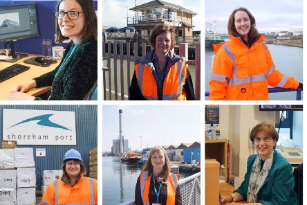 Female staff at Shoreham Port celebrating International Women's Day