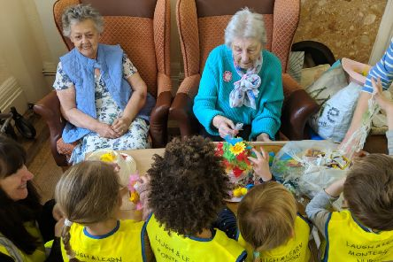Residents of Wraysbury House enjoyed taking part in Easter activities with the visiting children