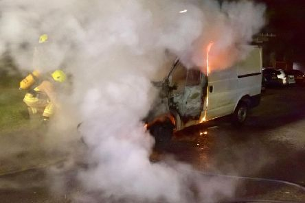 The van was destroyed in the blaze