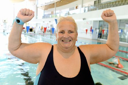 She did it! Tracy Tilney at the end of her five-hour fundraising swim. Picture: Kate Shemilt ks190262-1