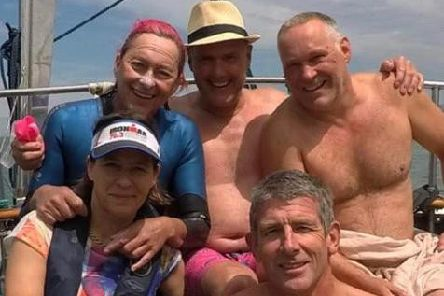 Sarah Cotton (top left) completed the Channel swim while Lawrence Naested (top right) swam Lake Geneva