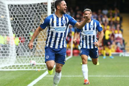Florin Andone celebrates his goal in the win at Watford