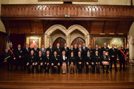 Medal recipients with the Lord Lieutenant and Chief fire officer