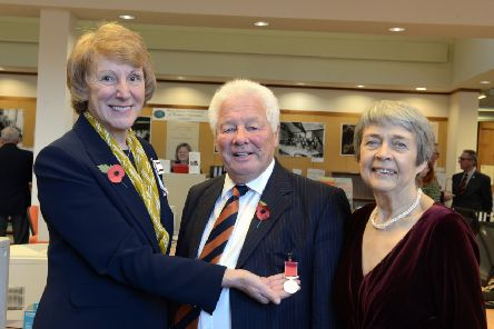 Susan Pyper, Lord Lieutenant of West Sussex, with Major Brian Hudson and his wife Susan