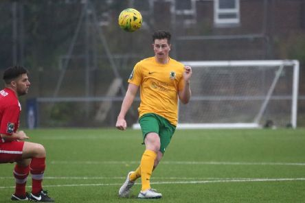 Charlie Harris in action against Whitstable Town. Picture by John Lines