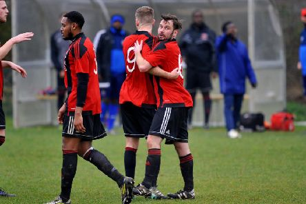 Billingshurst celebrate pulling the deficit back to 3-1 in their 5-2 home defeat against Steyning Town in Division 1 on Saturday. All pictures by Steve Robards.