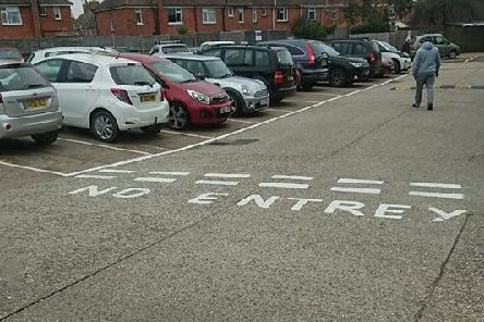 The road markings went slightly awry in Cricketers Parade in Broadwater