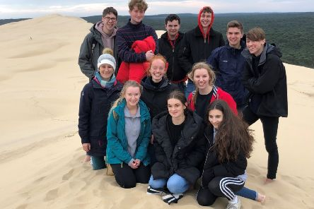 Collyer's students at Dune du Pilat, the highest sand dune in Europe