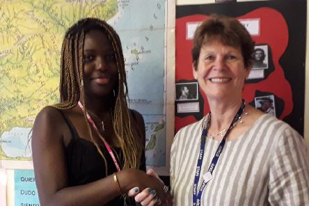 Salome Tirado-Okeze with Collyer's principal, Sally Bromley SUS-190723-145638001