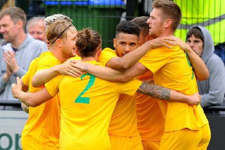 Horsham FC celebrate. Picture by Steve Robards