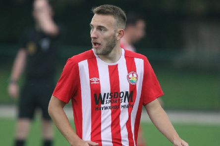 Rob Clark put Steyning Town 1-0 up against Selsey. Picture by Derek Martin