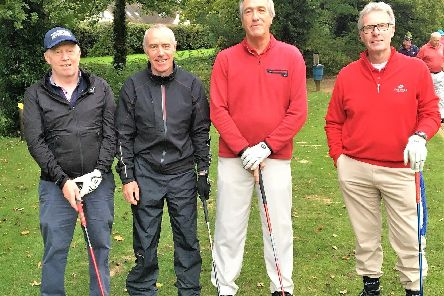 Horsham Golf Clubs James Barclay (left) and Shaun Moloney with Oak Parks Maurice Emberson and Bob Sockett. All pictures courtesy of Denis Wright