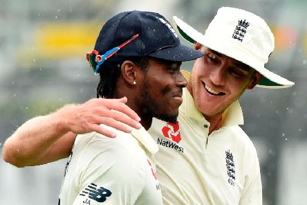 Jofra Archer with Stuart Broad during the final Test in Hamilton / Picture by Getty Images