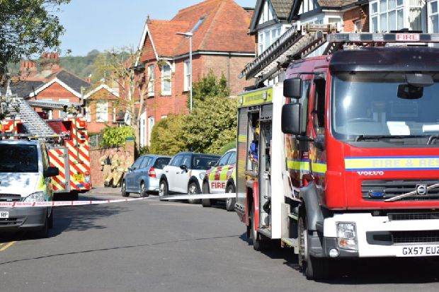 Two people being treated by paramedics at Motcombe incident