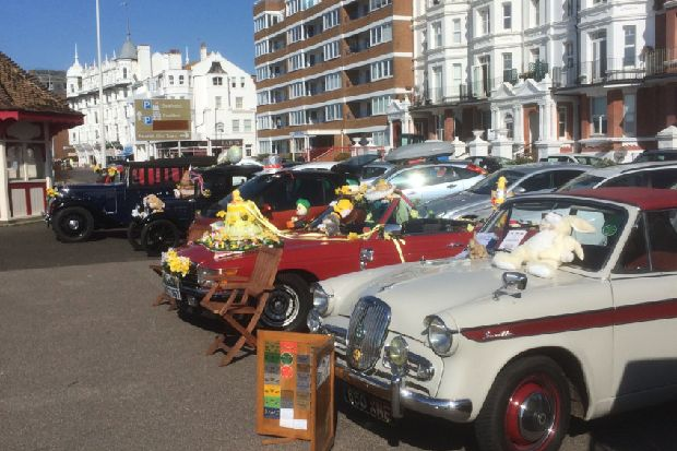 Classic cars line up on Bexhill seafront on Easter Sunday