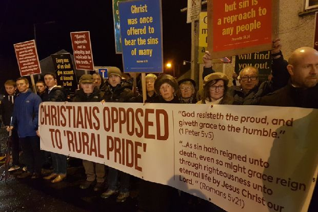 Protestors with scripture placards picket official launch of Mid Ulster Pride Parade